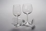 Empty Wine glasses on white backgroumd