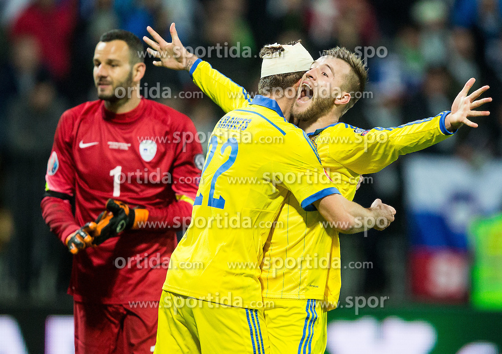 Artem Kravets (UKR) and Andriy Yarmolenko (UKR) celebrate after scoring goal for Ukraine in last second during the UEFA EURO 2016 Play-off for Final Tournament, Second leg between Slovenia and Ukraine, on November 17, 2015 in Stadium Ljudski vrt, Maribor, Slovenia. Photo by Vid Ponikvar / Sportida