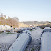 A temporary storage for the sections of the pylons near Atessa (CH).<br /> Sangro Valley