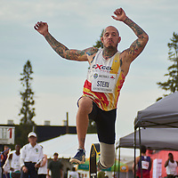 Janz Stein competing in the Men Long Jump Para Ambulatory Final at the 2016 Athletics Canada Olympic Trials at Foote Field, Edmonton. Stein broke the Canadian record of 5.99m on his fourth attempt with a leap of 6.10m which now makes him the current record holder.