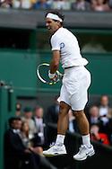 Wimbledon Championships 2011, AELTC,London,.ITF Grand Slam Tennis Tournament . Rafael Nadal (ESP) springt in die Luft und jubelt nach seinem Sieg,Jubel,Emotion,.Einzelbild,Ganzkoerper,Hochformat,