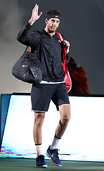 SHANGHAI, Oct. 14, 2017  Juan Martin del Potro of Argentina greets spectators before the singles semifinal match against Roger Federer of Switzerland at 2017 ATP Shanghai Masters tennis tournament in Shanghai, east China, on Oct. 14, 2017. (Credit Image: © Fan Jun/Xinhua via ZUMA Wire)
