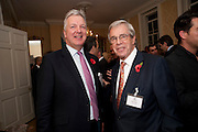 STUART JOHNSON; WILLY BAUER, Streetsmart Reception at 11 Downing St. London. 1 November 2011. <br /> <br />  , -DO NOT ARCHIVE-© Copyright Photograph by Dafydd Jones. 248 Clapham Rd. London SW9 0PZ. Tel 0207 820 0771. www.dafjones.com.