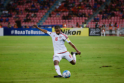 June 13, 2017 - Bangkok, Bangkok, Thailand - MAHMOUD AL HAMMADI of the UAE in action against during the FIFA World Cup 2018 qualifying soccer match between Thailand and the United Arab Emirates at the Rajamangala stadium in Bangkok, Thailand, 13 June 2017. (Credit Image: © Anusak Laowilas/NurPhoto via ZUMA Press)