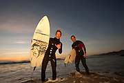 J.R. Watson and Charles Moltz north of Ventura Calif., on Monday, Jan. 24, 2011.  Watson is usually down to surf nearly anywhere, anytime; including after dark.  (Photo by Aaron Schmidt © 2011)