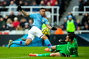 Gabriel Jesus (#9) of Manchester City shoots but is denied by the save of Martin Dubravka (#1) of Newcastle United during the Premier League match between Newcastle United and Manchester City at St. James's Park, Newcastle, England on 30 November 2019.