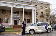 Danielle Appel, academic counselor and regional representative for Minneapolis, MN stands next to her car outside Waldorf College in Forest City, Iowa on Saturday, May 14, 2011.