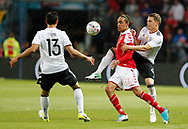 FOOTBALL: Yussuf Poulsen (Denmark) and Matthias Ginter (Germany) battle for the ball during the Friendly match between Denmark and Germany at Brøndby Stadion on June 6, 2017 in Brøndby, Denmark. Photo by: Claus Birch / ClausBirch.dk.