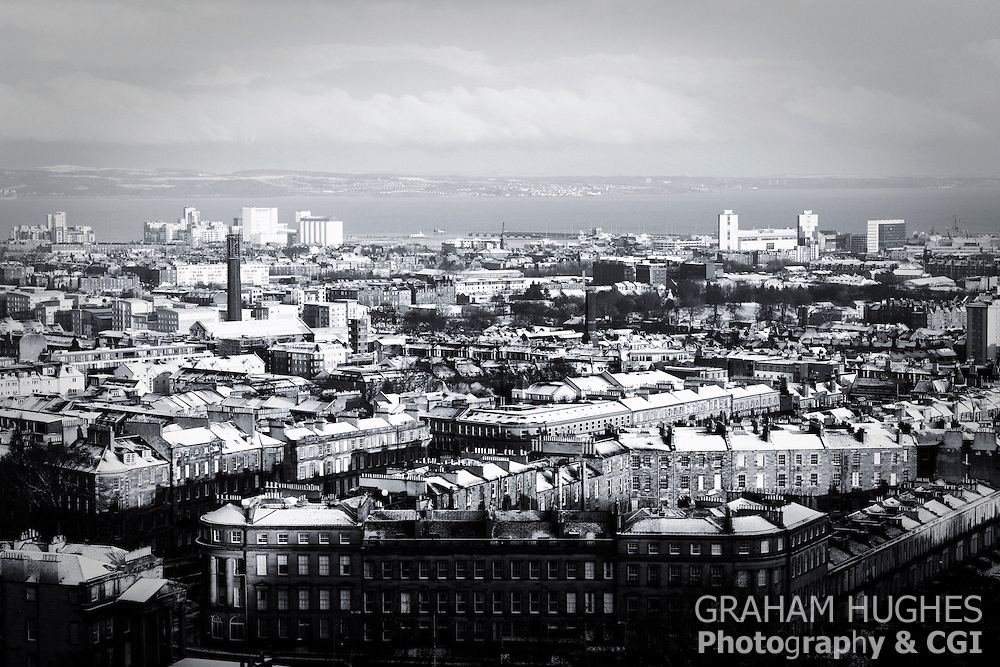 leith, edinburgh, snow, roof, tops, winter,