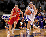 Kansas State forward Claire Coggins (R) heads up court after stealing the ball form Iowa State's Megan Ronhovde (L), during second half action at Bramlage Coliseum in Manhattan, Kansas, February 24, 2007.  Iowa State beat Kansas State 64-61.