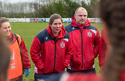 Bristol Ladies head coach Kim Oliver gives a post-match talk to her players - Mandatory by-line: Paul Knight/JMP - 03/02/2018 - RUGBY - Cleve RFC - Bristol, England - Bristol Ladies v Harlequins Ladies - Tyrrells Premier 15s