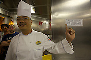 Aboard the Rhapsody of the Seas, on a cruise from Vancouver to Hawaii. Galley visit with Sous-Chef Alex Tuliao.