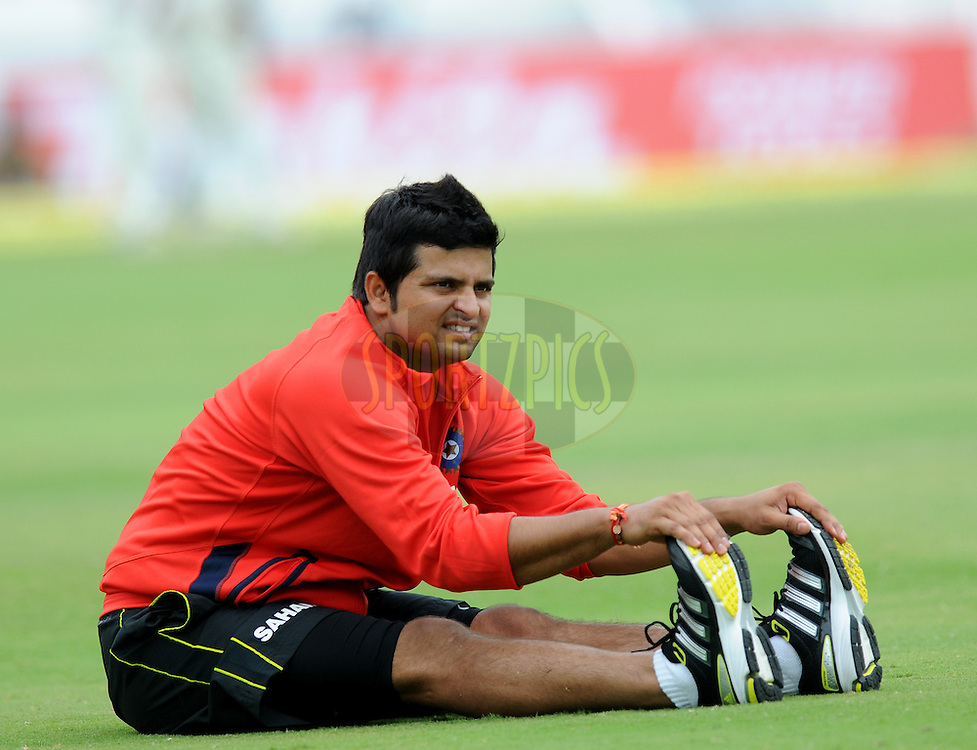 Suresh Raina of India during a practice session before the start of day two of the first test match between India and New Zealand held at The Rajiv Gandhi International Stadium in Hyderabad, India on the 24th August 2012..Photo by: Pal Pillai/BCCI/SPORTZPICS