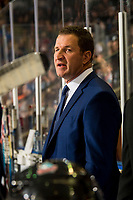 KELOWNA, CANADA - NOVEMBER 23: Kelowna Rockets' head coach Adam Foote stands on the bench against the Victoria Royals  on November 23, 2018 at Prospera Place in Kelowna, British Columbia, Canada.  (Photo by Marissa Baecker/Shoot the Breeze)