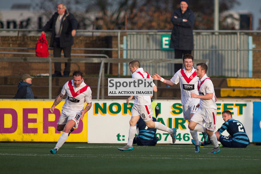 David Cox (Airdrie 10) Scores a goal in the Forfar Athletic v Airdrie Station Park, Forfar, 07 November 2015<br />(c) Russell G Sneddon / SportPix.org.uk