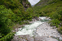 Ticino, Southern Switzerland. White water of the River Maggia.