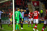 Sheffield Wednesday Jordan Rhodes after his effort on goal misses during the EFL Cup match between Rotherham United and Sheffield Wednesday at the AESSEAL New York Stadium, Rotherham, England on 28 August 2019.