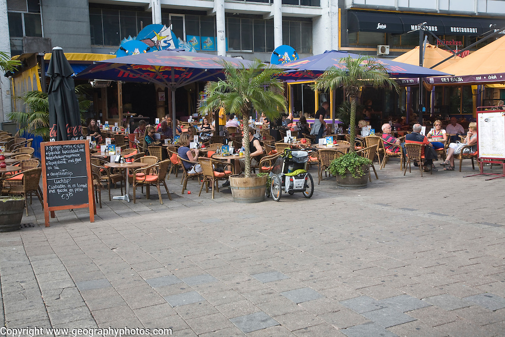 People at outdoor cafe restaurant Stadhuisplein Rotterdam Netherlands