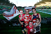 An English family get ready before the Rugby League World Cup match between Australia and England at Melbourne Rectangular Stadium, Melbourne, Australia on 27 October 2017. Photo by Mark  Witte.