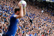 Leicester City fans intently watch Leicester City defender Christian Fuchs as he prepares a long throw into the penalty area during the Premier League match between Leicester City and Bournemouth at the King Power Stadium, Leicester, England on 21 May 2017. Photo by Richard Holmes.