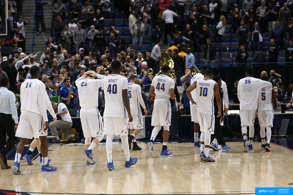 Tulsa leave the court dejected after their loss during the UConn Huskies Vs Tulsa Semi Final game at the American Athletic Conference Men's College Basketball Championships 2015 at the XL Center, Hartford, Connecticut, USA. 14th March 2015. Photo Tim Clayton
