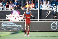 BREDA - Ireen van den Assem (Ned) met Volvo reclame,   tijdens de finale  Nederland-Japan (8-2) van de 4 Nations Trophy dames 2018 . COPYRIGHT KOEN SUYK