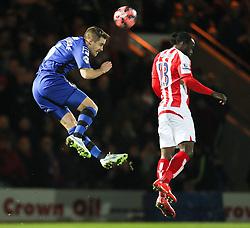 Rochdale's Oliver Lancashire wins a header - Photo mandatory by-line: Matt McNulty/JMP - Mobile: 07966 386802 - 26/01/2015 - SPORT - Football - Rochdale - Spotland Stadium - Rochdale v Stoke City - FA Cup Fourth Round