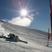Mia O'Keefe, New Zealand, in action during the Women's Giant Slalom Sitting, Adaptive competition at Coronet Peak, during the Winter Games. Queenstown, New Zealand, 23rd August 2011. Photo Tim Clayton..