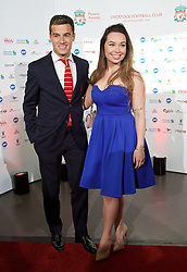 LIVERPOOL, ENGLAND - Tuesday, May 19, 2015: Liverpool's Philippe Coutinho Correia and his wife Ainede 'Aine' Sousa arrive on the red carpet for the Liverpool FC Players' Awards Dinner 2015 at the Liverpool Arena. (Pic by David Rawcliffe/Propaganda)