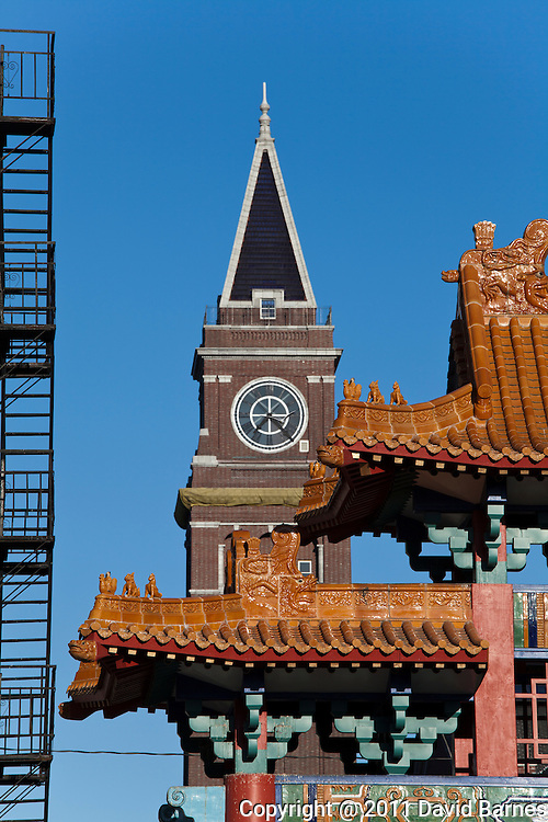 China Gate, King Street Station tower, Seattle, Washington, USA