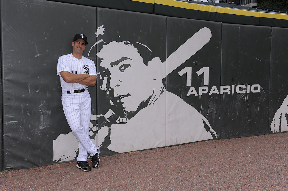 CHICAGO - JULY 28:  Omar Vizquel #11 of the Chicago White Sox poses for a portrait at various locations within U.S. Cellular Field while honoring fellow Venezuelan shortstop and baseball Hall-of-Famer Luis Aparicio prior to the game against the Seattle Mariners on July 28, 2010 at U.S. Cellular Field in Chicago, Illinois.  The White Sox un-retired the number 11after Aparicio approved, allowing Vizquel wear to the number for the 2010 season.  (Photo by Ron Vesely)