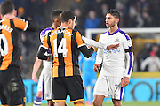 Hull City midfielder Jake Livermore (14) gets involved in altercation with Achraf Lazaar (7) Newcastle United defender during the EFL Quarter Final Cup match between Hull City and Newcastle United at the KCOM Stadium, Kingston upon Hull, England on 29 November 2016. Photo by Ian Lyall.