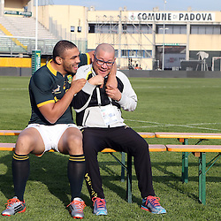 PADUA, ITALY - NOVEMBER 21: Bryan Habana with Charles Wessels Operational Head during the South African national rugby team photograph and captains run at Stadio Euganeo on November 21, 2014 in Padua, Italy. (Photo by Steve Haag/Gallo Images)