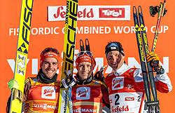 29.01.2017, Casino Arena, Seefeld, AUT, FIS Weltcup Nordische Kombination, Seefeld Triple, Siegerehrung, 3. Tag, im Bild Johannes Rydzek (GER, 2. Platz), Sieger Eric Frenzel (GER), Bernhard Gruber (AUT, 3. Platz) // 2nd placed Johannes Rydzek of Germany Winner Eric Frenzel of Germany 3rd placed Bernhard Gruber of Austria celebrates on Podium after the 3rd Day of the FIS Nordic Combined World Cup Seefeld Triple at the Casino Arena in Seefeld, Austria on 2017/01/29. EXPA Pictures © 2017, PhotoCredit: EXPA/ JFK