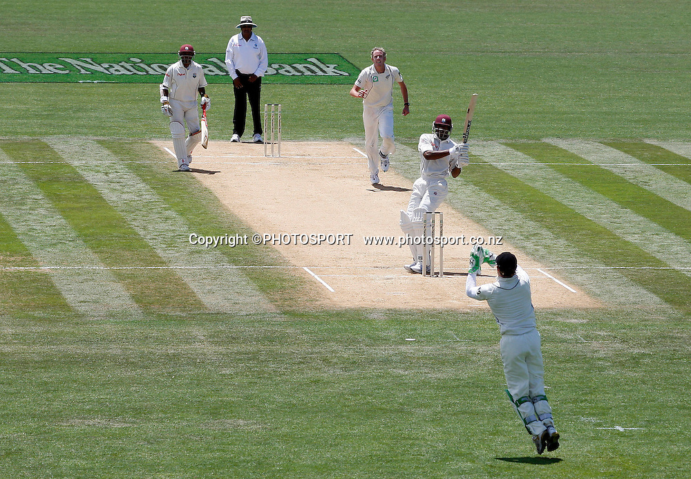 Ian O'Brien watches the ball edge through to Brendon McCullum to take one of six wickets during play on day 2 of the second cricket test at McLean Park in Napier. National Bank Test Series, New Zealand v West Indies, Saturday 20 December 2008. Photo: Andrew Cornaga/PHOTOSPORT