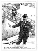 Eamon De Valera (1882-1975) American-born Irish statesman, declining the opportunity to attend the Ottawa Conference on tarriffs because oh his duties at home in the Irish Free State, where he had just come into power,. Cartoon by L Ravenhill from 'Punch' (London, 6 July 1932.)