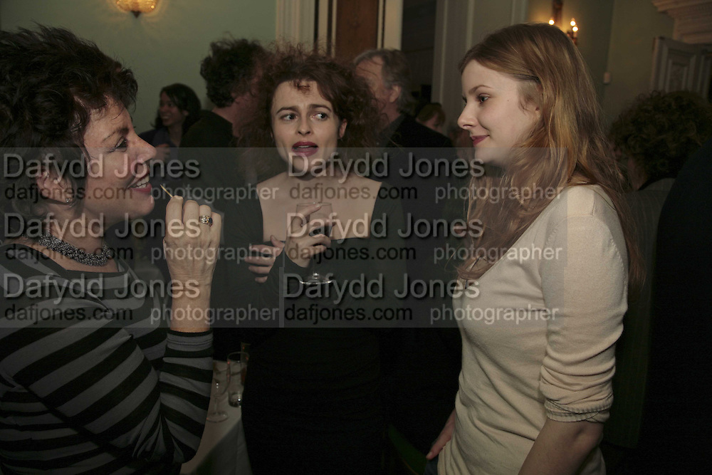 RUBY WAX, HELENA BONHAM-CARTER AND RACHEL HURD-WOOD, PARTY AT DARTMOUTH HOUSE AFTER A PREMIERE SCREENING OF PERFUME AT THE CURZON. LONDON.<br />