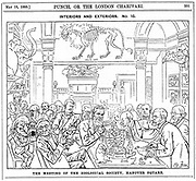 Cartoon by Harry Furniss of a meeting of the (Royal) Zoological Society, London. Richard Owen is in the left foreground, next to Mr Punch, holding an Apteryx bursting from its egg. From 'Punch', London, 23 May 1885