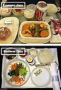 Airline Food: Economy Vs. First Class <br /> <br /> What used to be a woman's size 12 in 1968 is a woman's size 4 today; what used to be third-class is economy-class today. What changed? We've grown more sensitive: I'm not overweight, I still fit into a size 12. I'm not a third-class passenger, I'm a price conscious individual that rides in economy-class.<br /> Despite the name games, airline food hasn't changed much. Economy class meals still come in a wrapper, and business or first-class meals come with real cutlery. This list shows the sometimes striking difference between what the different classes eat.<br /> <br /> Photo shows: Korean Airlines<br /> ©Exclusivepix Media