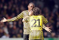Fotball<br /> Tyskland<br /> Foto: Witters/Digitalsport<br /> NORWAY ONLY<br /> <br /> 15.03.2009<br /> <br /> v.l. Seyi Olajengbesi, Cristian Fiel Aachen<br /> 2. Bundesliga Alemannia Aachen - FC St. Pauli
