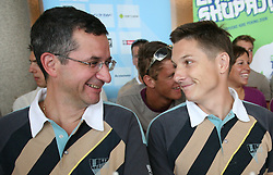 Shooter Rajmond Debevec and Andraz Vehovar of Slovenian Olympic Team at departure to Beijing 2008 Olympic games, on July 31, 2008, at Airport Jozeta Pucnika, Brnik, Slovenia. (Photo by Vid Ponikvar / Sportal Images)/ Sportida)