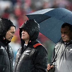 Steve Hansen, Grant Fox and Ian Foster during game 9 of the British and Irish Lions 2017 Tour of New Zealand, the second Test match between  The All Blacks and British and Irish Lions, Westpac Stadium, Wellington, Saturday 1st July 2017<br /> (Photo by Kevin Booth Steve Haag Sports)<br /> <br /> Images for social media must have consent from Steve Haag