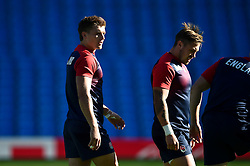 Henry Slade and Jack Nowell of England looks on - Mandatory byline: Patrick Khachfe/JMP - 07966 386802 - 09/10/2015 - RUGBY UNION - Manchester City Stadium - Manchester, England - England Captain's Run - Rugby World Cup 2015.