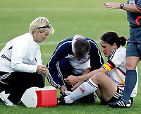 SANDEFJORD, NORWAY - JULY 23 :  Birgit Prinz injured down with an injury during the  match between Norway and Germany at the Komplett.no Arena  on July 23, 2008 in Sandefjord, Norway. (Photo by Bongarts/Getty Images )