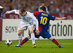 ROME, ITALY - Tuesday, May 26, 2009: Manchester United's Wayne Rooney and Barcelona's Lionel Messi during the UEFA Champions League Final at the Stadio Olimpico. (Pic by Carlo Baroncini/Propaganda)
