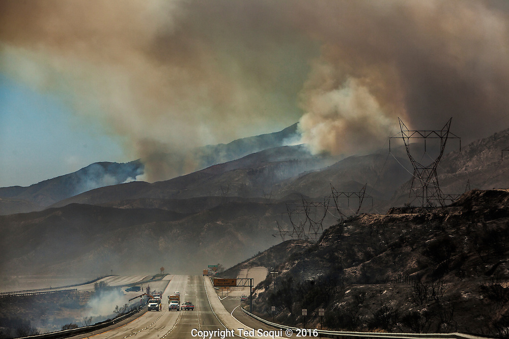 The Blue Cut Wild Fire.<br /> The mountain area of the Cajon Pass on fire.