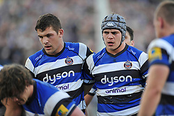 Bath Rugby captain Charlie Ewels and team-mate Tom Ellis - Photo mandatory by-line: Patrick Khachfe/JMP - Mobile: 07966 386802 01/11/2014 - SPORT - RUGBY UNION - Bath - The Recreation Ground - Bath Rugby v London Welsh - LV= Cup