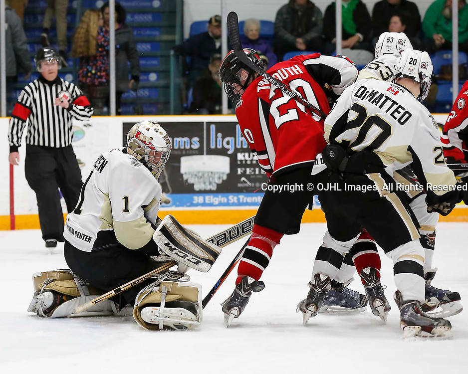 TRENTON, ON - MAR 17,  2017: Ontario Junior Hockey League, playoff game between the Trenton Golden Hawks and the Stouffville Spirit., Louis DiMatteo #20 of the Trenton Golden Hawks and Thomas Tinmouth #20 of the Stouffville Spirit battle for the puck during the second period<br /> (Photo by Amy Deroche / OJHL Images)