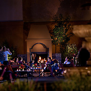 The Meritage fountain courtyard fireplace