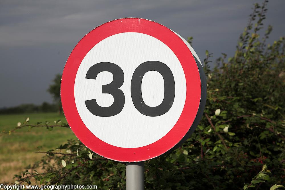 30 miles per hour circular road traffic sign, UK